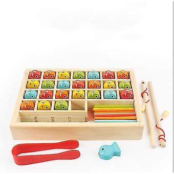 Wooden fishing toys, digital learning boxes, children's wooden magnetic fishing educational toys az6134