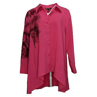 DG2 by Diane Gilman Women's Top Oversized Tie Dye Hi-Low Drama Pink 742521