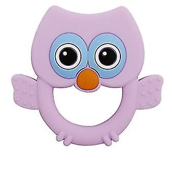 Purple silicone eagle shape teether for toddlers, baby molar stick toy az3035