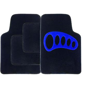 Streetwize Carpet Mat Set 4 Piece Black with Blue Heel Pad