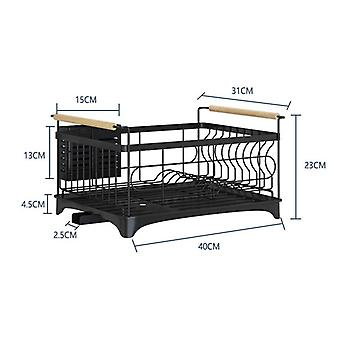 Stainless Steel Kitchen Shelf For Drying Dishes Sink Rack For Dishes Drain Rack(Black)