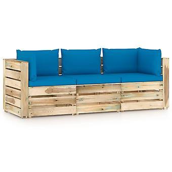 vidaXL 3-Sitzer-Gartensofa mit Kissen Grün Imprägniertes Holz