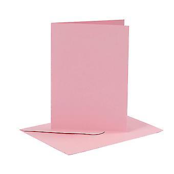 6 Cartões A6 Rosa Rosa Rosa e Envelopes para Fazer Artesanato de Cartões | Cartão fazendo espaços em branco