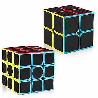 Kohlefaser 2x2 3x3 Speed Cube Bundle, Zauberwürfel Puzzle Spielzeug Kinder