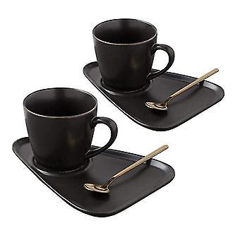 Set of 2x Mugs, Barrels and Teaspoons - Black
