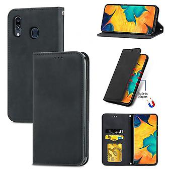 Case For Samsung Galaxy A20/a30 Magnetic Closure Leather Wallet Cover Housse Etui Shockproof - Black