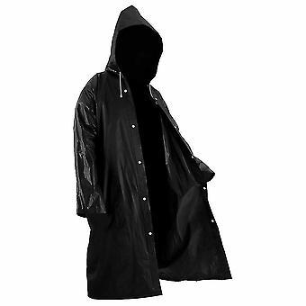 블랙 패션 성인 방수 긴 비옷 여성 남성 비 코트 후드 아웃도어 하이킹 여행