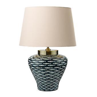 Dar JOY Porcelana Table Lamp base Blue White Fish Motif Round Tapered Shade