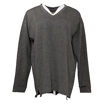 Soft & Cozy Women's Sweater Brushed Jersey V Neck Pullover Gray 663216