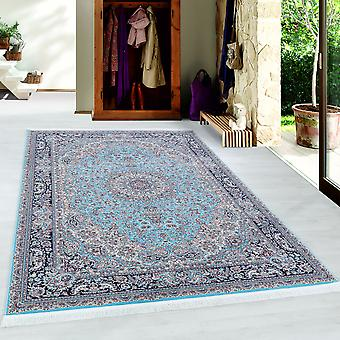 Teppich Orient Medaillon Muster Kurzflor Blau