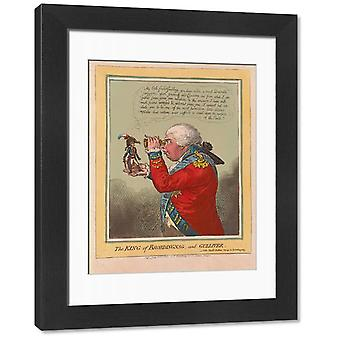 The King of Brobdingnag and Gulliver, pub. 1803 (hand coloured engraving). Large Framed Photo..