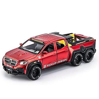 Toy cars 1/28 x class exy 6x6 off road pickup model toy car alloy die cast pull back sound light toysvehicle
