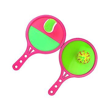 1セットデュアルサイド投げキャッチボール粘着性吸盤パドルスローボールセルフスティックおもちゃ屋外インタラクションゲーム親子レジャースポーツおもちゃ(2ボード、2