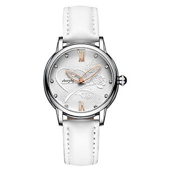Women Leather Bracelet Watch With Rose
