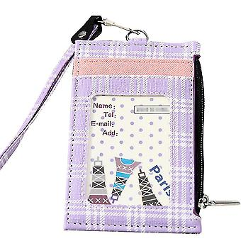 (Purple)Badge Holder Grid Pu Leather 4 Slots With Zip Pocket - 4 Colors Option