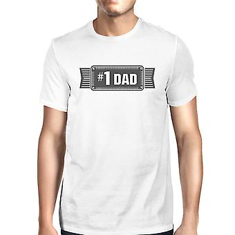 #1 Dad Mens White Vintage Graphic T-Shirt Fathers Day Gifts For Him