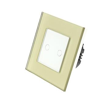 I LumoS Gold Glass Frame 2 Gang 1 Way Remote & Dimmer Touch LED Light Switch White Insert