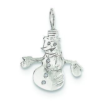 925 Sterling Silber solid poliert Schneemann Anhänger Anhänger Halskette Schmuck Geschenke für Frauen - .7 Gramm