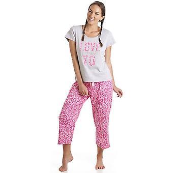 Camille szary i różowy Leopard wydruku miłość do Dream motyw Piżama