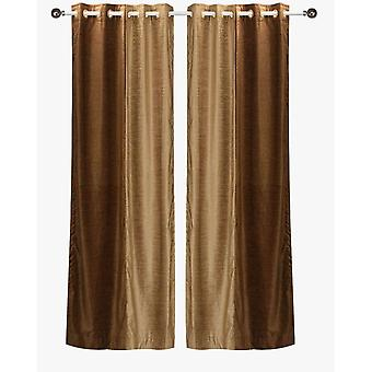 Delancy  Brown and Taupe ring top Velvet Curtain Panel - Piece