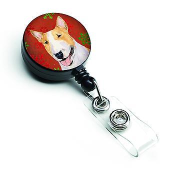 Bull Terrier rosso e verde dei fiocchi di neve vacanza Natale retrattile Badge Reel