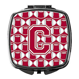 Letter C Football Crimson, grey and white Compact Mirror