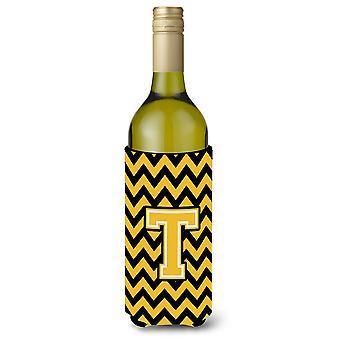 Letter T Chevron Black and Gold wijnfles drank isolator Hugger