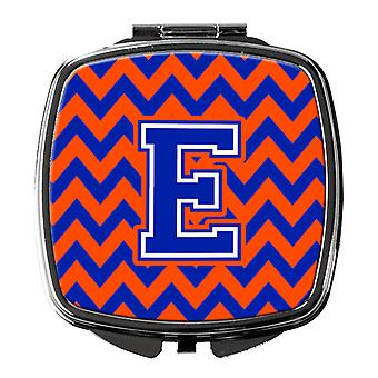 Carolines Treasures  CJ1044-ESCM Letter E Chevron Orange and Blue Compact Mirror