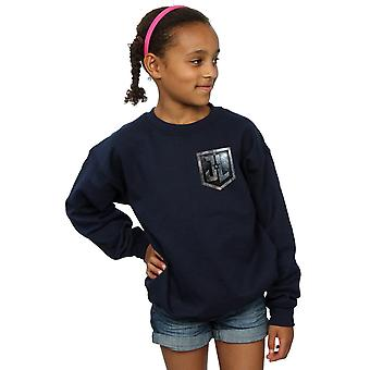 DC Comics Girls Justice League Movie Shield Faux Pocket Sweatshirt