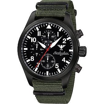 KHS Herrenuhr Airleader zwarte stalen chronograaf KHS. AIRBSC.NO
