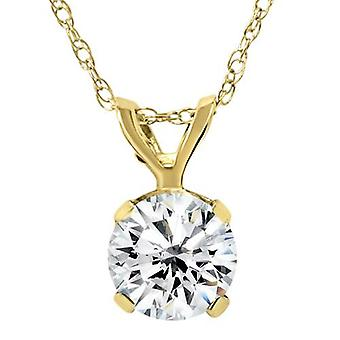 Yellow Gold 1/4ct Round Solitaire Real Diamond Pendant
