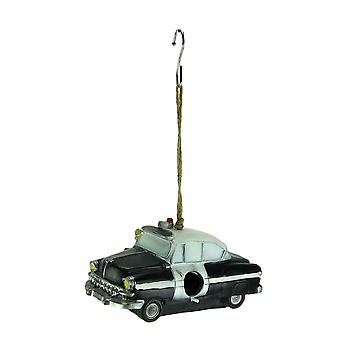 Black Vintage Police Car Hanging Birdhouse for Small Birds