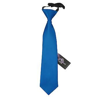 Electric Blue Plain Satin Elasticated Tie for Boys