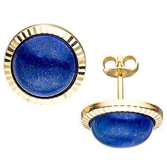 klassische Ohrstecker 333 Gold Gelbgold 2 Lapislazuli blau Ohrringe Goldohrringe