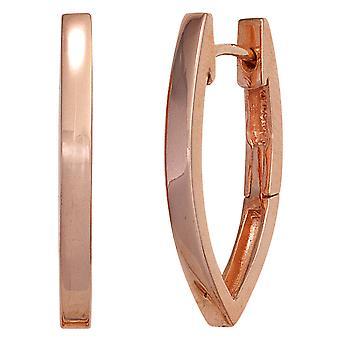 Hoop Ørepynt røde gull belagt ovale 925 sterling sølv oval øredobber sølv Keywork