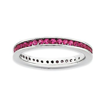 2.5mm 925 Sterling Silver Channel set Rhodium plated Stackable Expressions Polished Created Ruby Ring Jewelry Gifts for