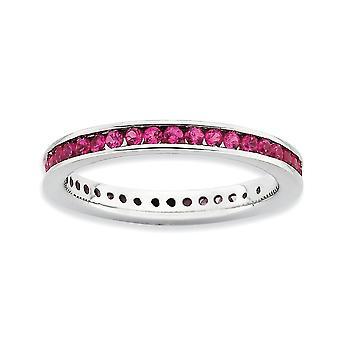 """2.5 מ""""מ 925 ערוץ כסף סטרלינג להגדיר מצופה רודיום ביטויים מלוטש שנוצר טבעת רובי תכשיטים מתנות עבור"""