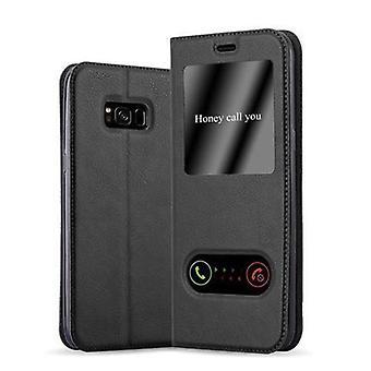Cadorabo Hülle für Samsung Galaxy S8 Case Cover - Handyhülle mit Magnetverschluss, Standfunktion und 2 Sichtfenstern – Case Cover Schutzhülle Etui Tasche Book Klapp Style