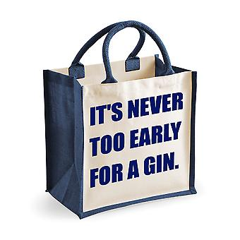 Medium Jute Bag It's Never Too Early For A Gin Navy Blue Bag