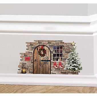 Full Colour Christmas Fairy Door Festive Wall Sticker