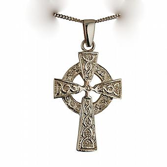 9ct Gold 41x29mm embossed knot design Celtic Cross with bail on a curb Chain 24 inches