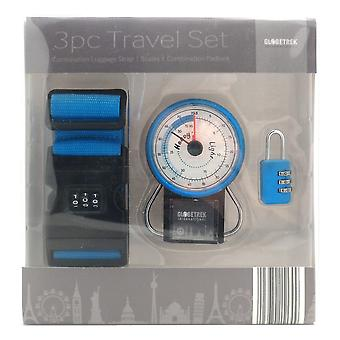Globetrek Luggage Strap, Scales & Padlock Travel Gift Set, Blue