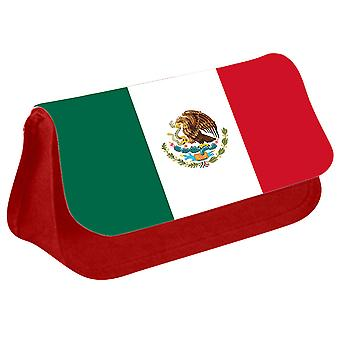 Mexico Flag Printed Design Pencil Case for Stationary/Cosmetic - 0112 (Red) by i-Tronixs