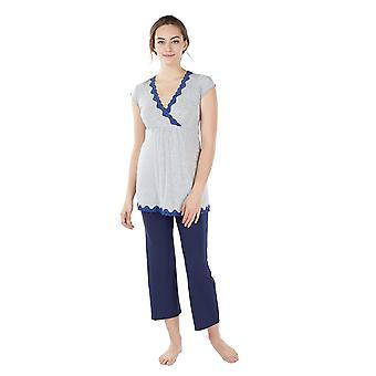 Luxe Comfort Bamboo Dantelă Trim 2-buc de maternitate & Nursing PJ Set