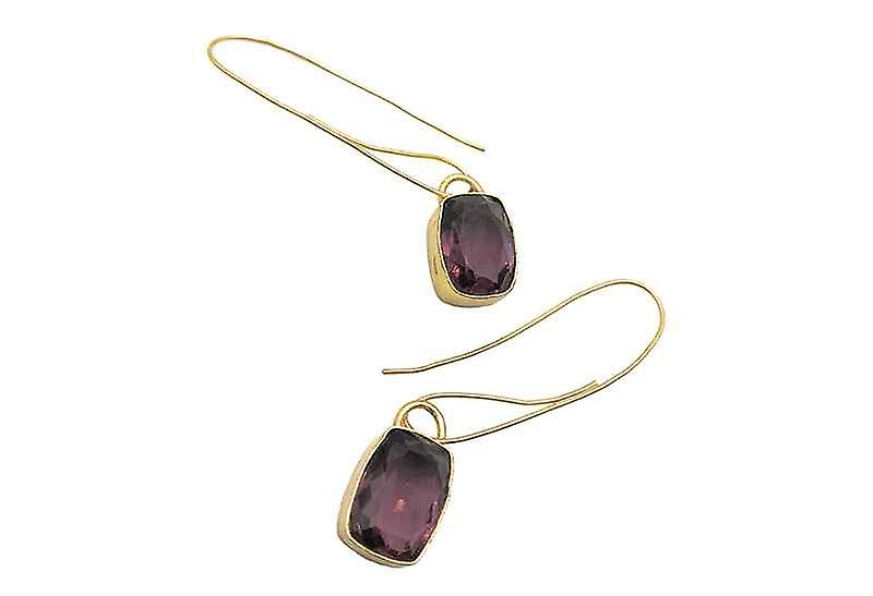 Vintage Purple Amethyst Squared Dangle Drop Earrings