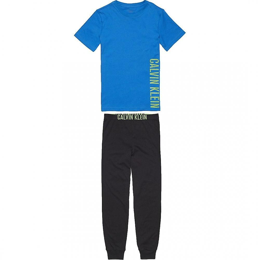 Calvin Klein Boys Knit PJ Set, Imperial Blue / Black, X-Large