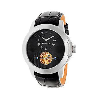 Heritor Windsor automático relógio de couro-banda semi esqueleto - prata/preto