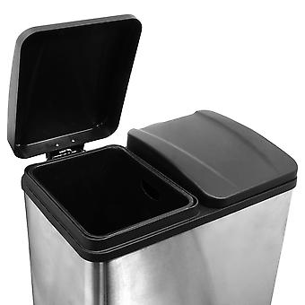 Charles Bentley 60L Stainless Steel Recycle Pedal Bin with 2 Compartments
