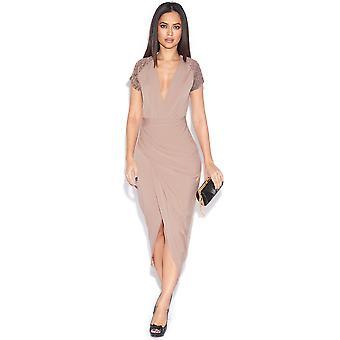 Lace Cap Sleeve Plunge Dress