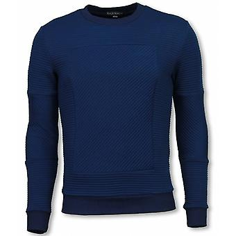 3D Ribbel Square Crewneck-sweatshirt-Blue